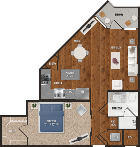 A1 Houston One Bedroom Floor Plan