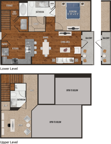 A5-M Houston One Bedroom Floor Plan