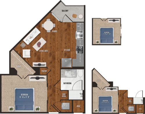 A6 Houston One Bedroom Floor Plan