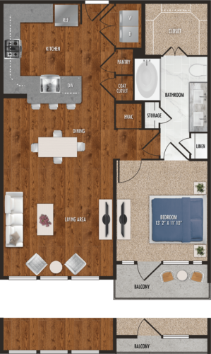 A8 Houston One Bedroom Floor Plan