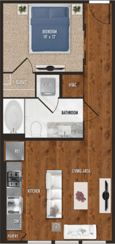 E2 Houston Studio Apartment Floor Plan